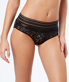 Lace briefs with elasticated bands black.