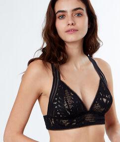 Lace triangle bra, racer back black.