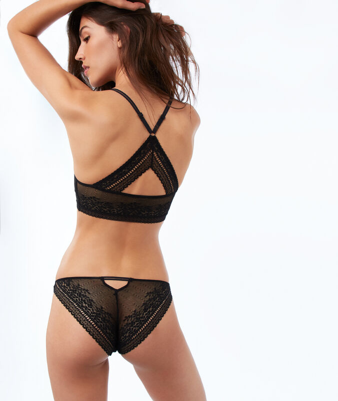 All lace bra, racer back black.