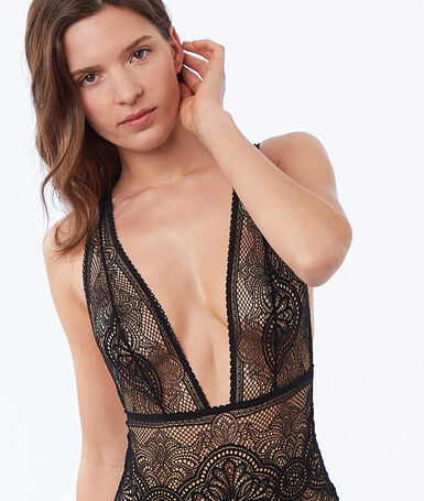 Lace tanga bodysuit black.