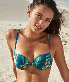 Push-up bikini top green blue print.