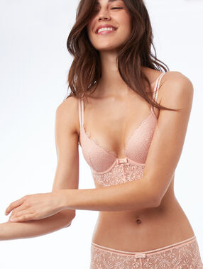 Bra no. 2 - lace plunging push-up bra, plunging basque natural.