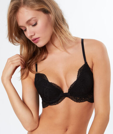 Bra no. 2 - plunging push-up bra black.