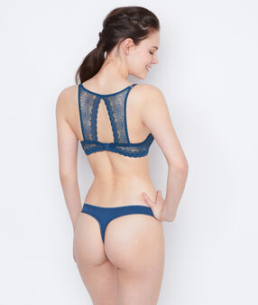 Lace tanga peacock blue.