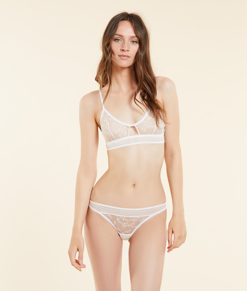 Non-wired bralette with embroidered tulle;${refinementColor}
