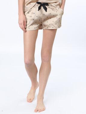 Printed satine pyjama shorts champagne.