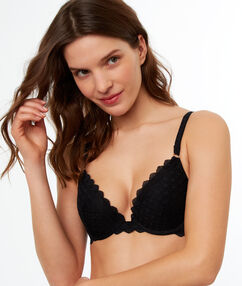 Lace push up bra black.