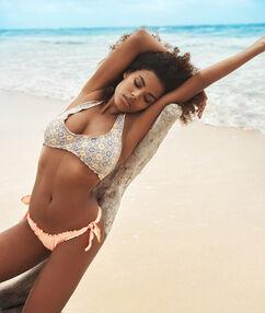 Brazilian bikini - high leg coral.