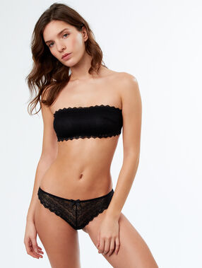 Lace thong black.