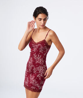Lace neck floral nightdress  garnet.