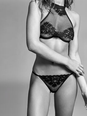 Fishnet demi-cup bra, inverted neckline black.