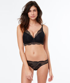 Lace triangle bra with basque black.
