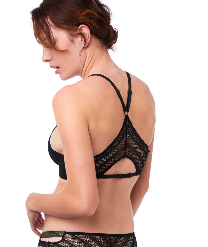 Bra no. 5 - classic padded lace bra with racer back black.