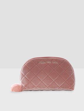 Toiletry bag with pompom pink.