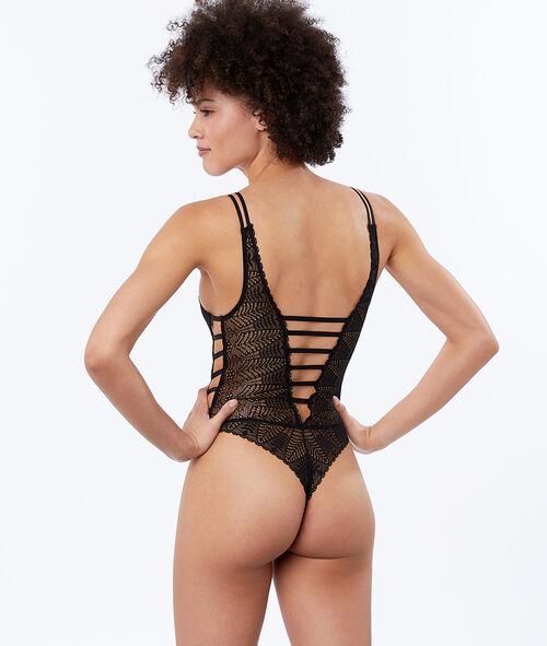 Open bodysuit in lace