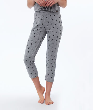 Unicorn print capri pants gray.