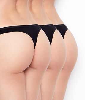 Pack of 3 coton thongs black.