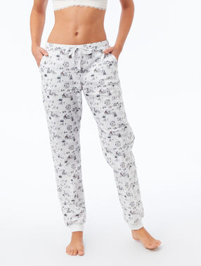 Printed trousers ecru.
