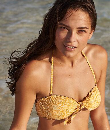 Strapless bikini top ocher.