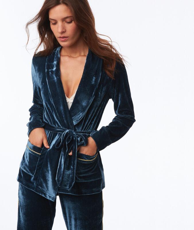 Velvet pajama jacket blue.