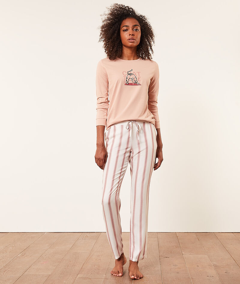 Striped pyjama bottoms;${refinementColor}