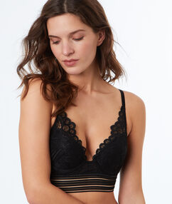 Lace triangle push-up bra, elastic basque black.