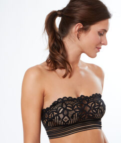 Lace bandeau bra black.