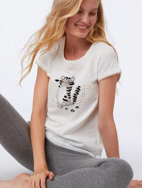 Camiseta manga corta gato crudo.
