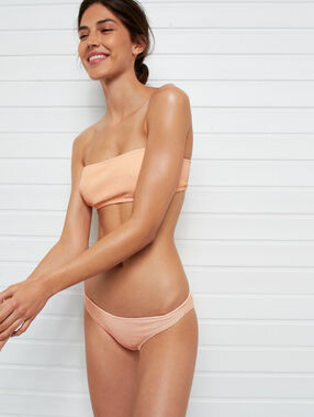 Simple iridescent bikini bottoms coral.