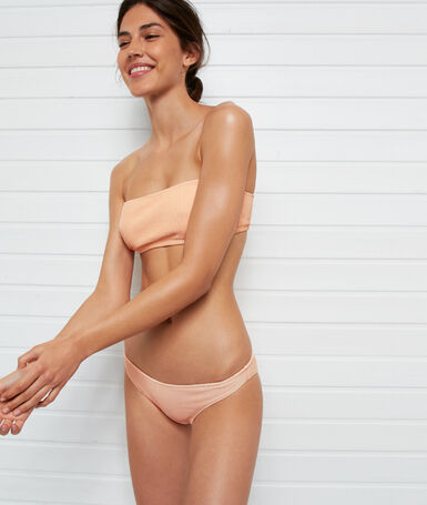 Simple iridescent bikini bottoms coral.
