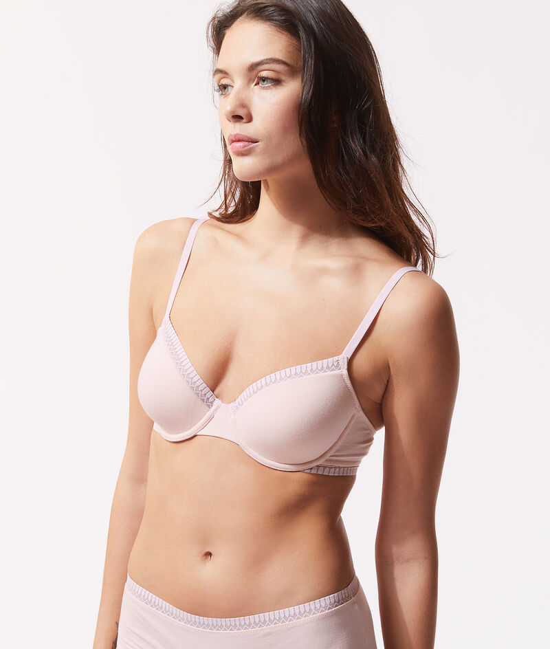 Classic bra with thin cups in organic cotton;${refinementColor}