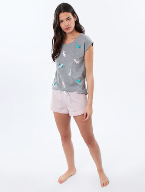 Dinosaur and unicorn print t-shirt gray.