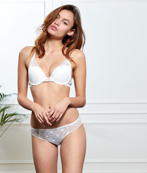 Bra no. 3 - lace and plumetis triangle push-up bra ecru.
