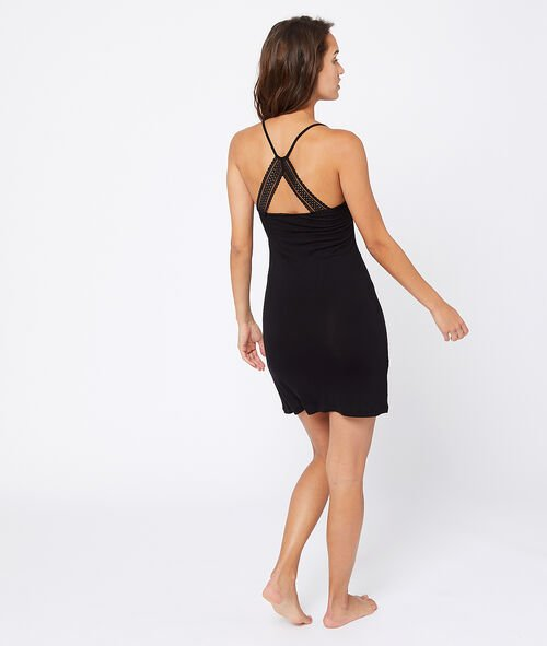 Crossed back lace chemise
