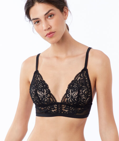 Triangle bra in floral lace, mesh details