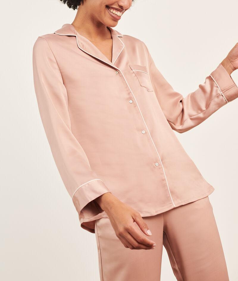 Satiny men Pyjamas shirt;${refinementColor}