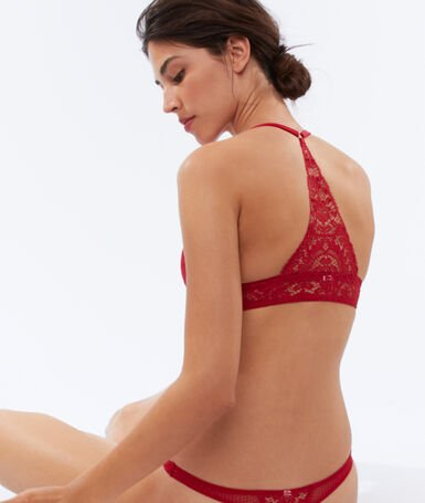 Bra no. 2 - lace plunging push-up, structured racer back red.