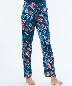 Printed satin trousers blue.