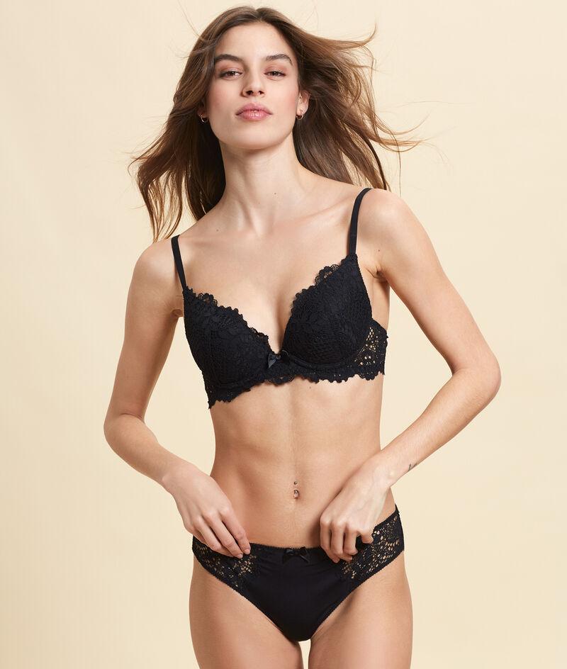 Bra n°2 : lace push-up plunge bra;${refinementColor}