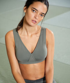 Sports bra, removable pads & crossed back - medium support khaki.