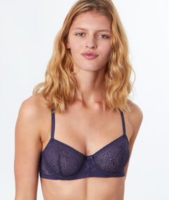 Demi-cup lace bra with racer back navy.
