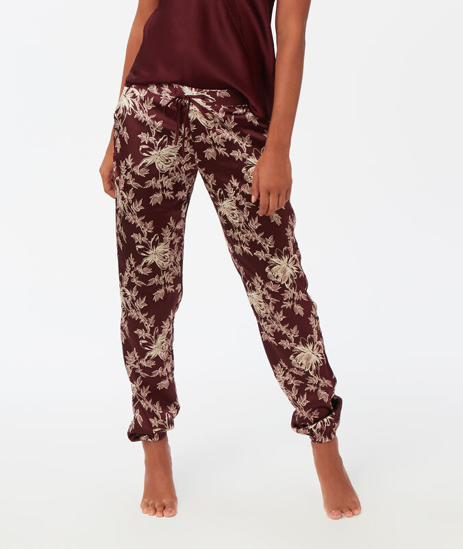 Printed satin trousers burgundy.
