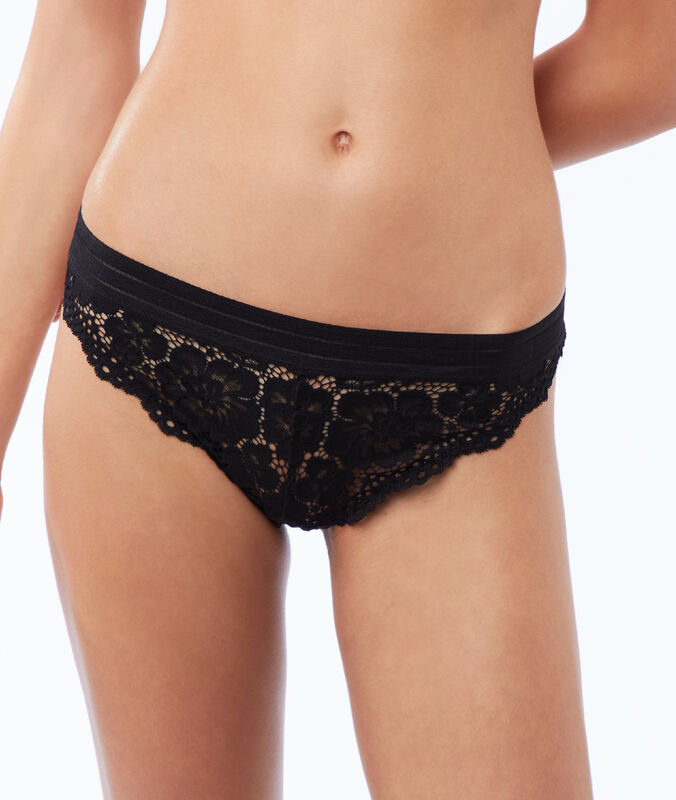 Floral lace tanga, elastic band black.