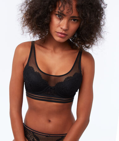 Bra no. 6 - lace padded bra black.