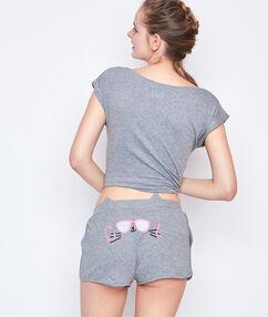 Printed pyjama short grey.