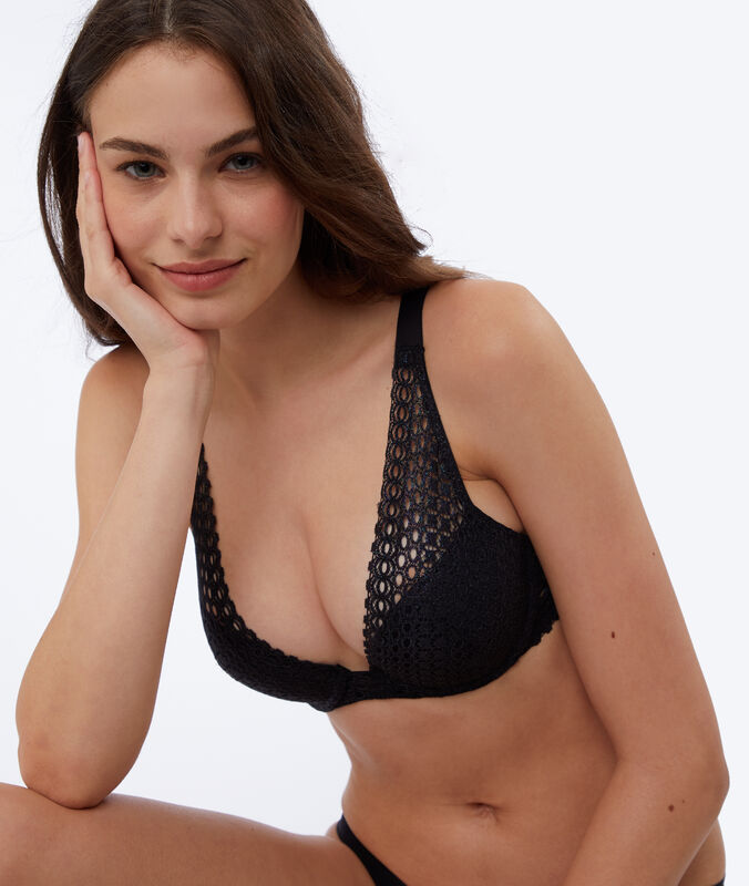 Reggiseno n°3 - triangolo push-up in pizzo  nero.