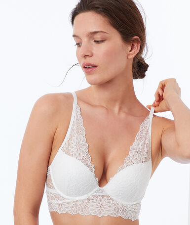 Bra no. 3 - lace triangle push-up bra with floral basque ecru.