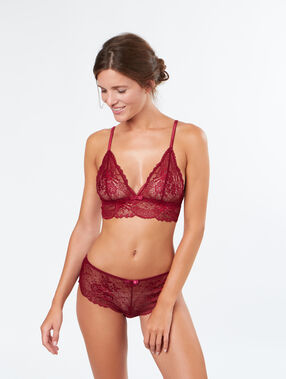 Lace wireless triangle bra burgundy.