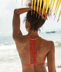 Triangle bikini top, racer back coral.