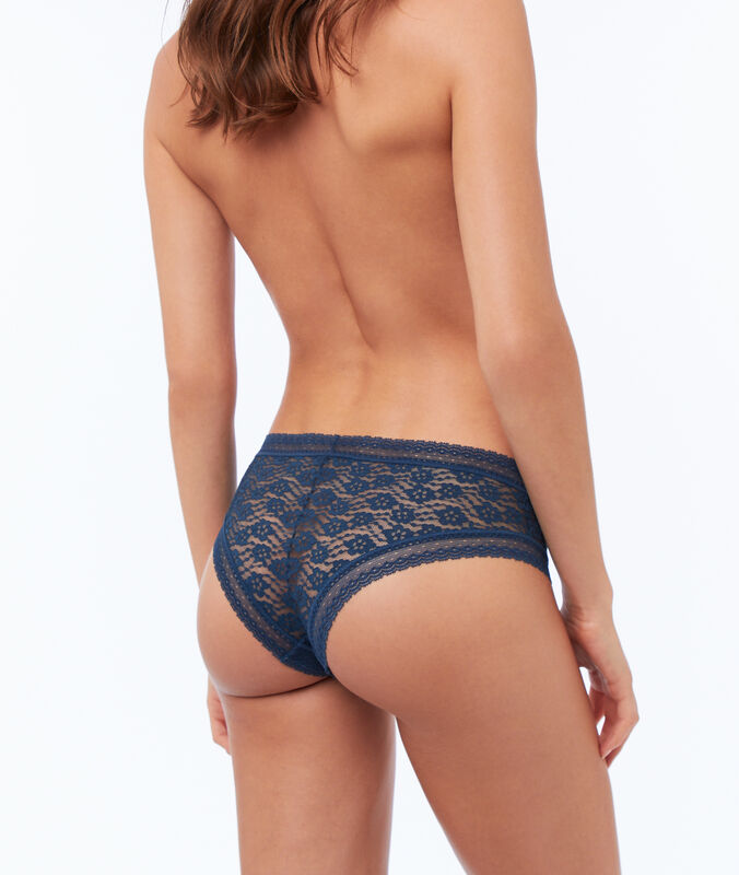 Floral lace hipsters blue.